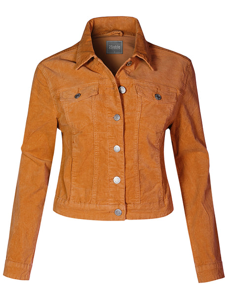 Womens Casual Stretchy Long Sleeve Button Up Corduroy Jacket with Pockets (WJC4318)