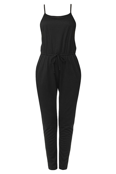 Womens Plus Size Ankle Length French Terry Camisole Romper Jumpsuit Pants (WRJ4452-P)