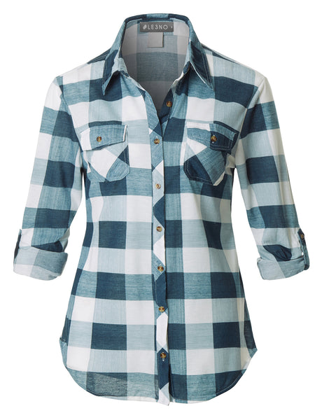 Womens Lightweight Plaid Button Down Shirt with Roll Up Sleeves (WT1390)