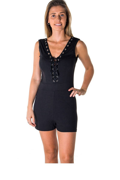 Ladies fashion casual lace up v neck knit romper shorts