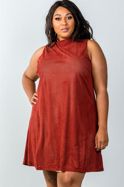 Ladies fashion plus size mini length  rust and nude illusion high neck swing dress