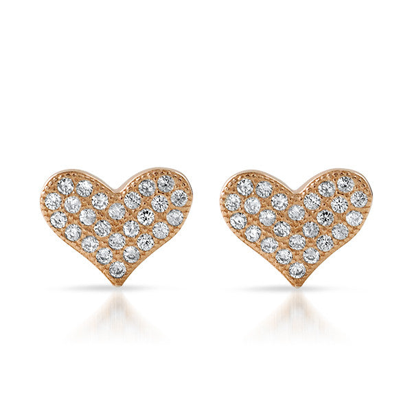 Rose Gold CZ Micropave Heart Stud Earrings