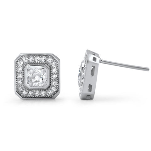 2.00 CTW Radiant Cut CZ Halo Stud Earrings