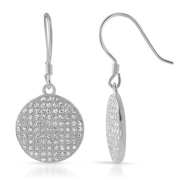 Silver CZ Micropave Round Fishhook Earrings