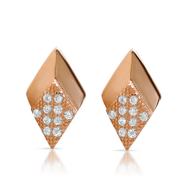Rose Gold CZ Micropave Arrowhead Stud Earrings