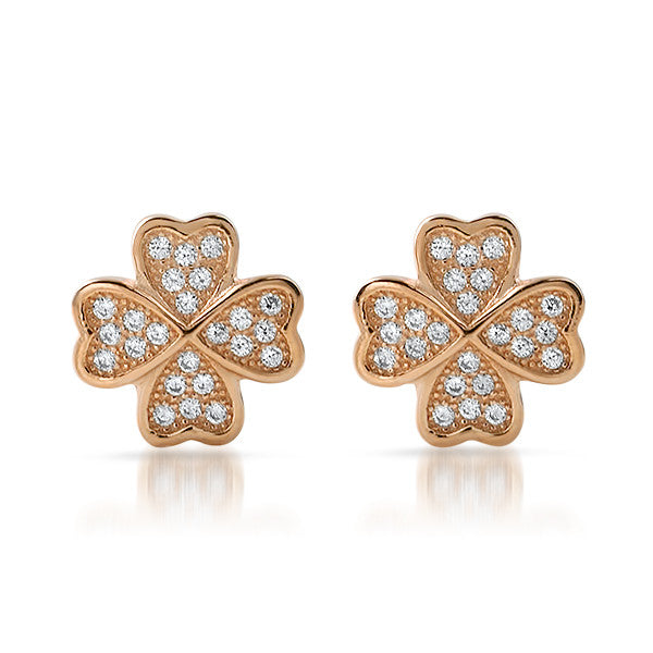 Rose Gold CZ Micropave Clover Stud Earrings