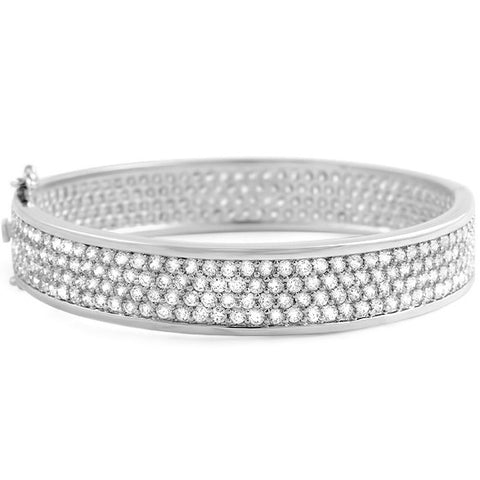 14.70 CTW  Large CZ Eternity Bangle Silver Tone