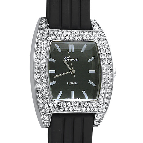 Silver Crystal Sporty Fashion Watch Black Band
