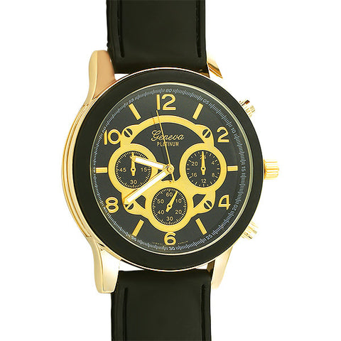 Black and Gold Sporty Rubber Fashion Watch
