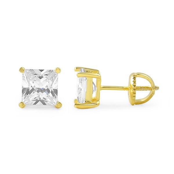 Gold Princess Cut CZ Studs Screwback