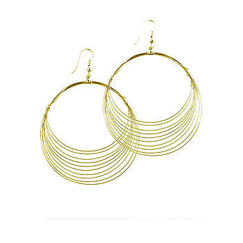14K Gold Tone Wire Crescent Earrings
