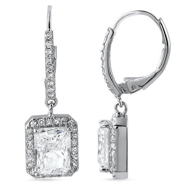 5.90 CTW Cushion Cut Halo CZ Drop Earrings