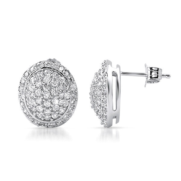 Oval Signity CZ Micropave Stud Earrings