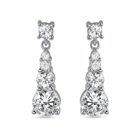 2 CTW Graduating Cubic Zirconia Silver Earrings