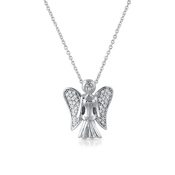 CZ Micropave Angel Necklace Silver