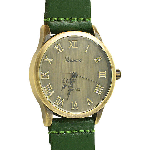 Aged Bronze Vintage Watch Green Strap
