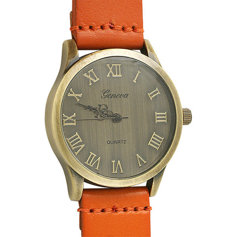 Aged Bronze Vintage Watch Orange Strap