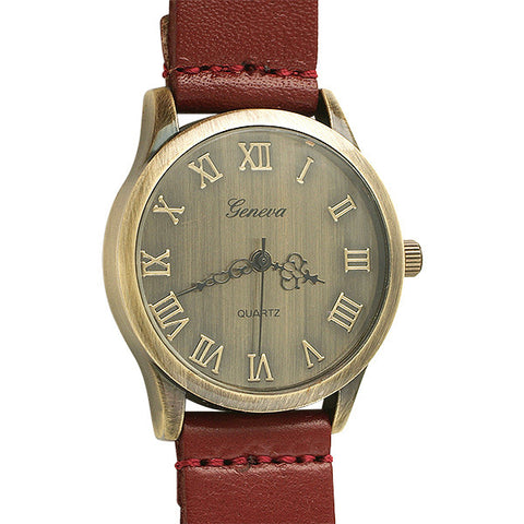 Aged Bronze Vintage Watch Red Strap