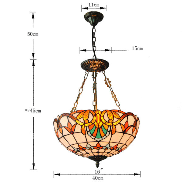 Baroque Tiffany Style Inverted Pendant Light PL776 - Cheerhuzz