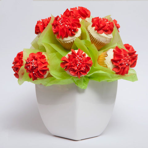 Bright Red Cupcake Bouquet