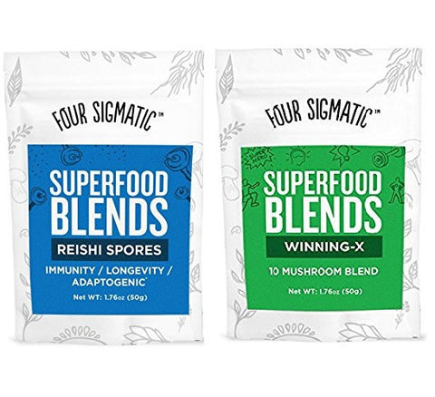 Four Sigmatic Superfood Mushroom Blends-Pack of 2-Winning-X and Reishi Spores-40 servings
