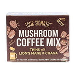 Four Sigmatic Mushroom Coffee Mix With Lions Mane And Chaga Box Of 10 Packets And Laird Superfood Organic Turmeric Creamer 16 Ounces Plus Super Food Information Sheet