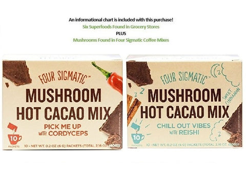 Four Sigmatic Superfood Mushroom Hot Cacao Mix Variety Pack Pick Me Up with Cordyceps And Chill Out Vibes With Reishi Box Of 10 Packets Each Plus Super Food Information Sheet