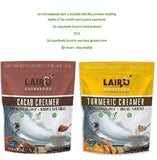 Laird Superfood Creamer Variety Pack, Tumeric Creamer And Cacao Creamer 16 ounces each Plus Superfood Information Sheet