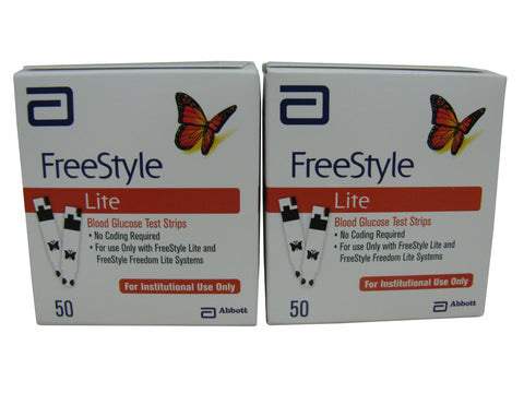 Abbott FreeStyle Lite NFRS, Two Boxes 50ct each, 100 strips