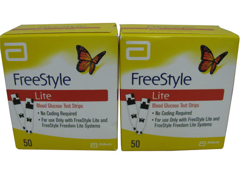 Abbott FreeStyle Lite Retail, Two Boxes 50ct each, 100 strips