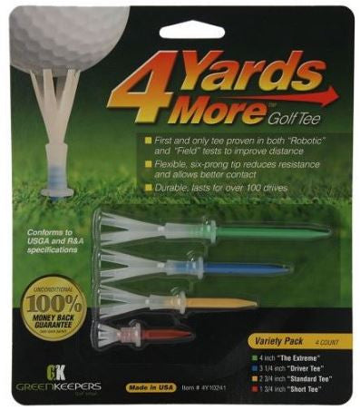 4 Yards More Golf Tees - Variety Pack of 4