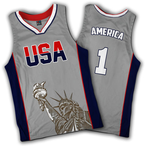 Limited Edition Grey America #1 Basketball Jersey
