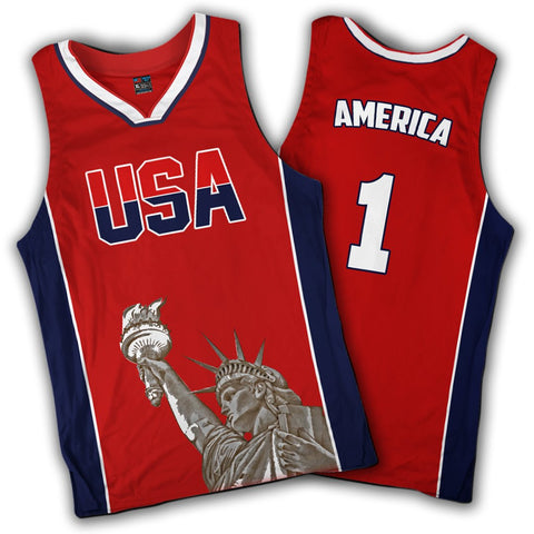 Limited Edition Red America #1 Basketball Jersey
