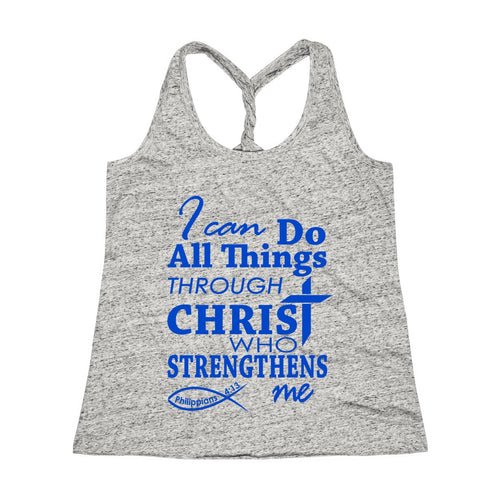 I Can Do All Things Through Christ Bible Verse Workout Twist Back Tank Top