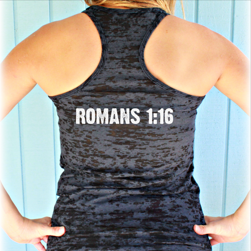 Romans 1:16 Burnout Inspirational Workout Tank Top. Womens Motivational Tank Top. Fitness Clothing.