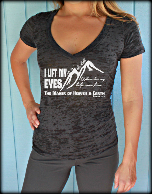 Womens Workout V-Neck Tee. I Lift My Eyes Up To The Hills Bible Verse. Motivational Exercise Apparel.