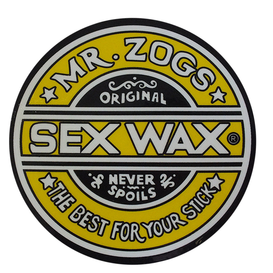 "Sex Wax Classic Logo Stickers - 3"" Yellow-Zogs Sex Wax-Seaside Surf Shop"