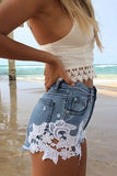 Fashion lace stitching shorts