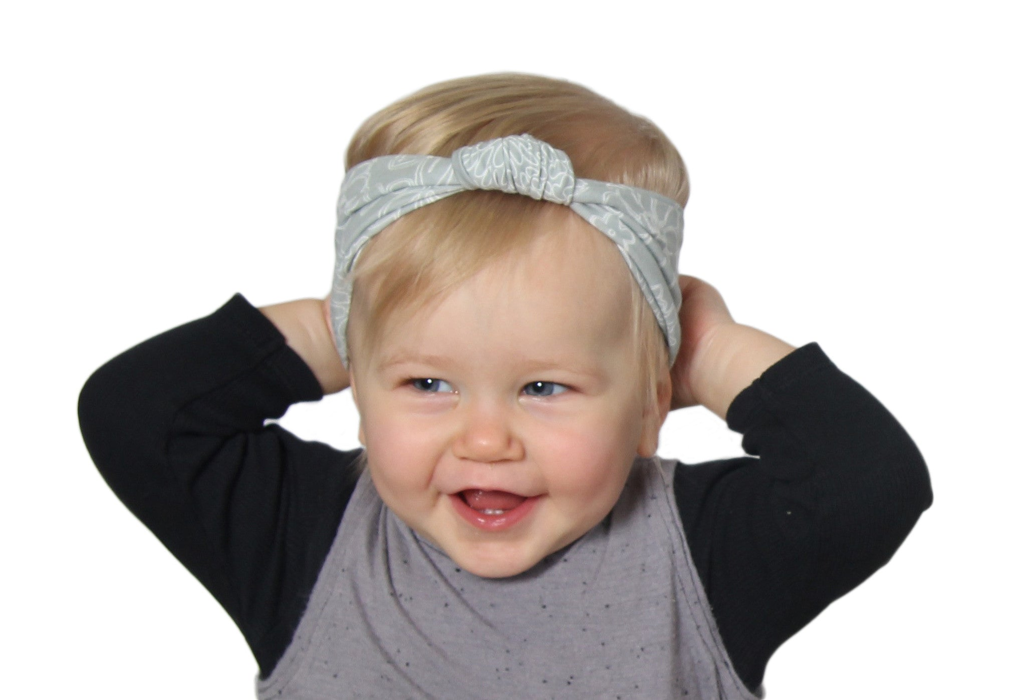 Soft Gray Daisy - Baby Knot Headband