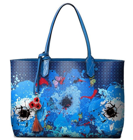 Pangborn Handbag - Blue Poppies on Navy