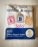 Cribette fitted Sheet with Safe Sleep Message