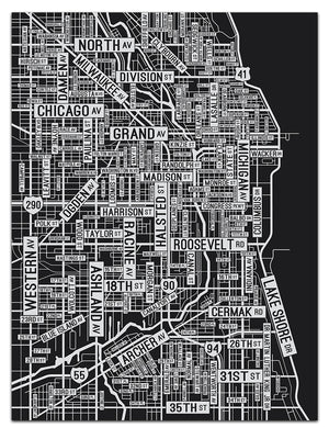 "Chicago Street Map 18"" x 24"" Screen Print"