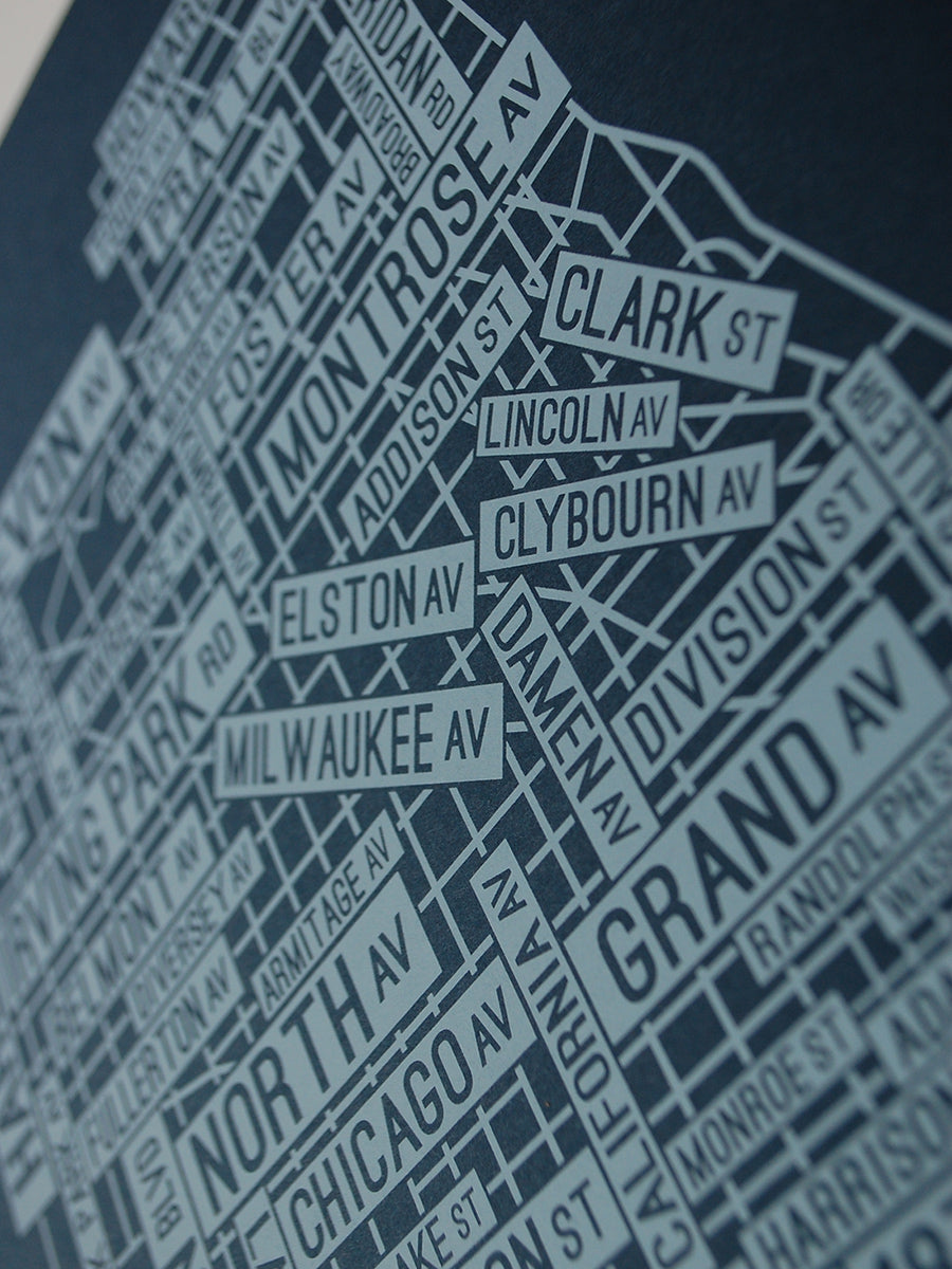 Chicago Flag Street Map Screen Print
