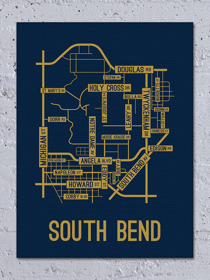 South Bend, Indiana Street Map Canvas