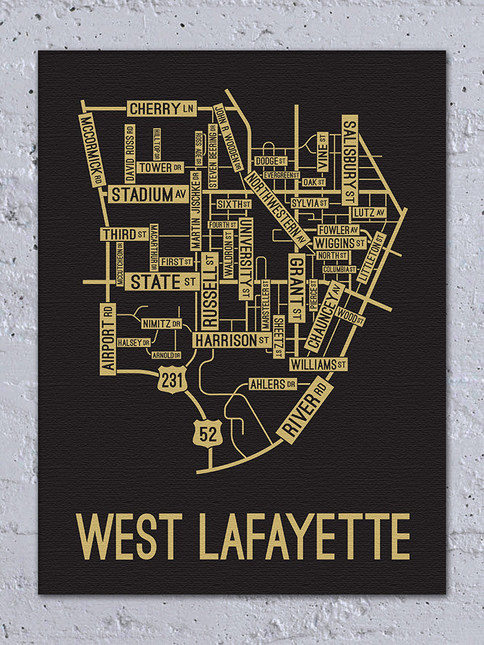 West Lafayette, Indiana Street Map Canvas