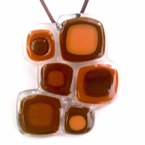 Abstract Squares Pendant - Brown