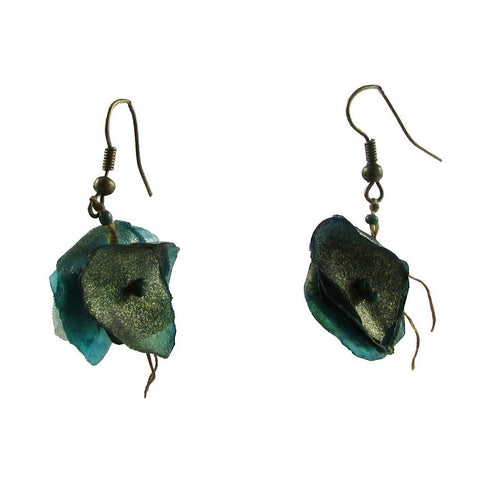 Fish Scales Earrings -Teal