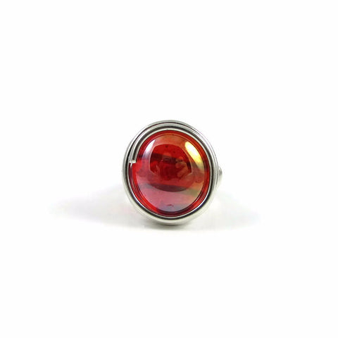 Infinity Glass Ring - Red Crystal Iridescent