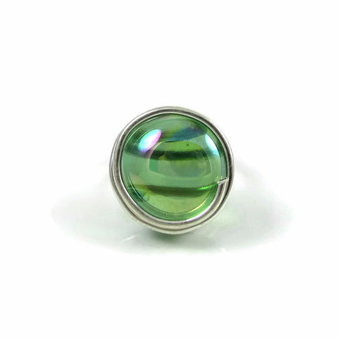 Infinity Glass Ring - Green Crystal Iridiscent
