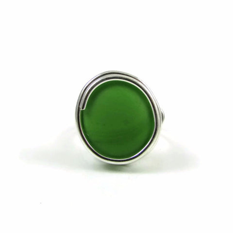 Infinity Glass Ring - Green Matte
